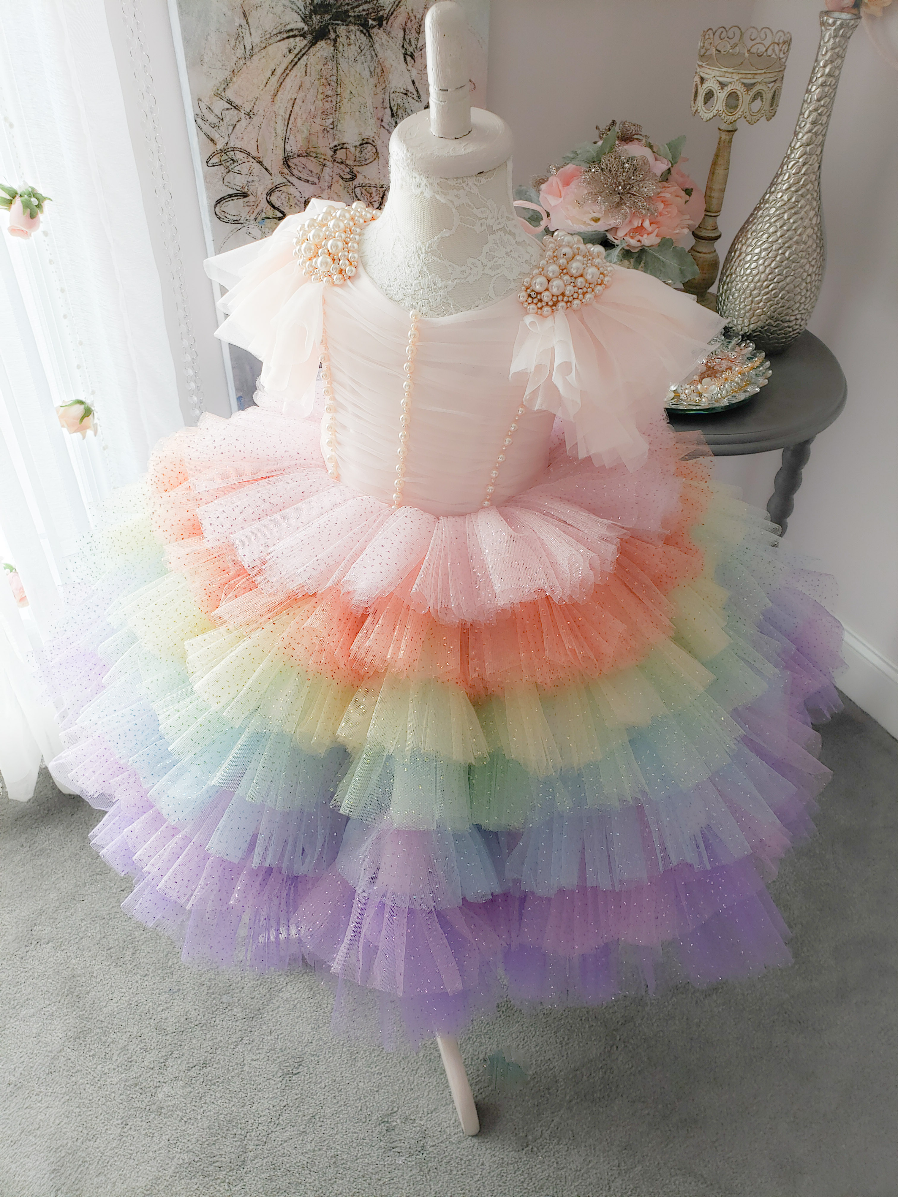 Rainbow Pouf Glitter Dress