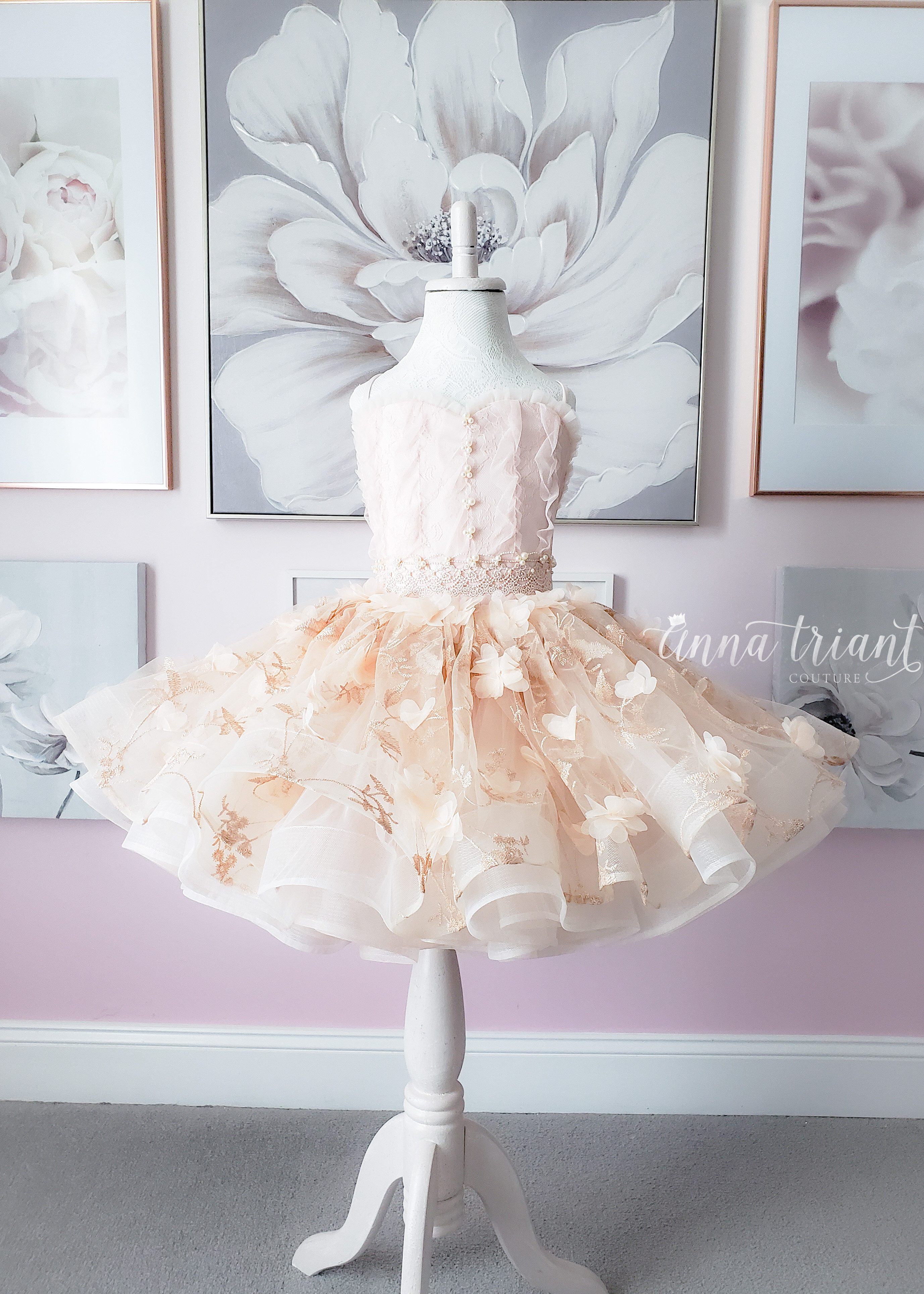 OOAK Blush Floral Dress with Ruffles, Size 6-7