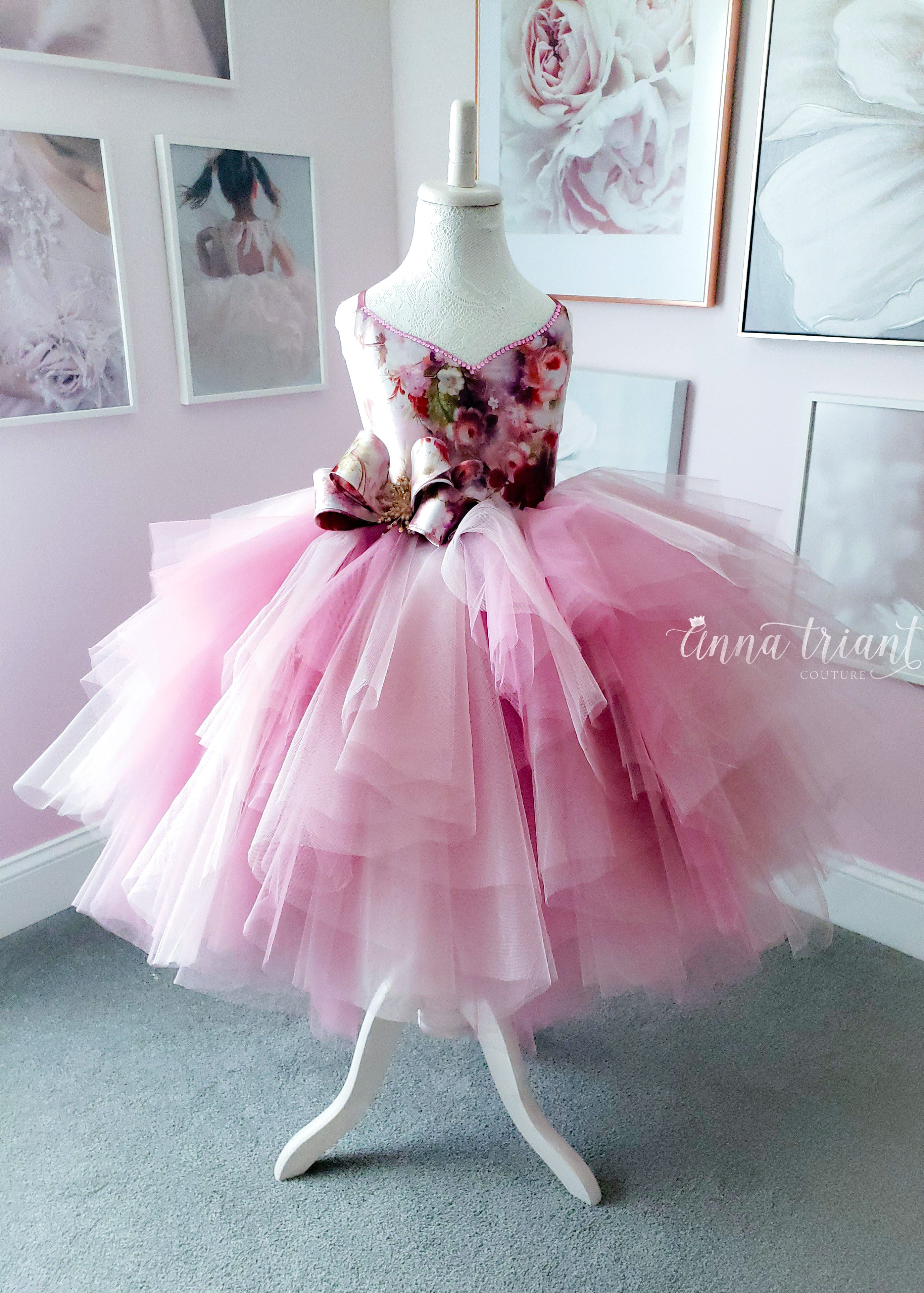 Silk Tutu Dress w/ Bow, Simply Anna, size 6-8