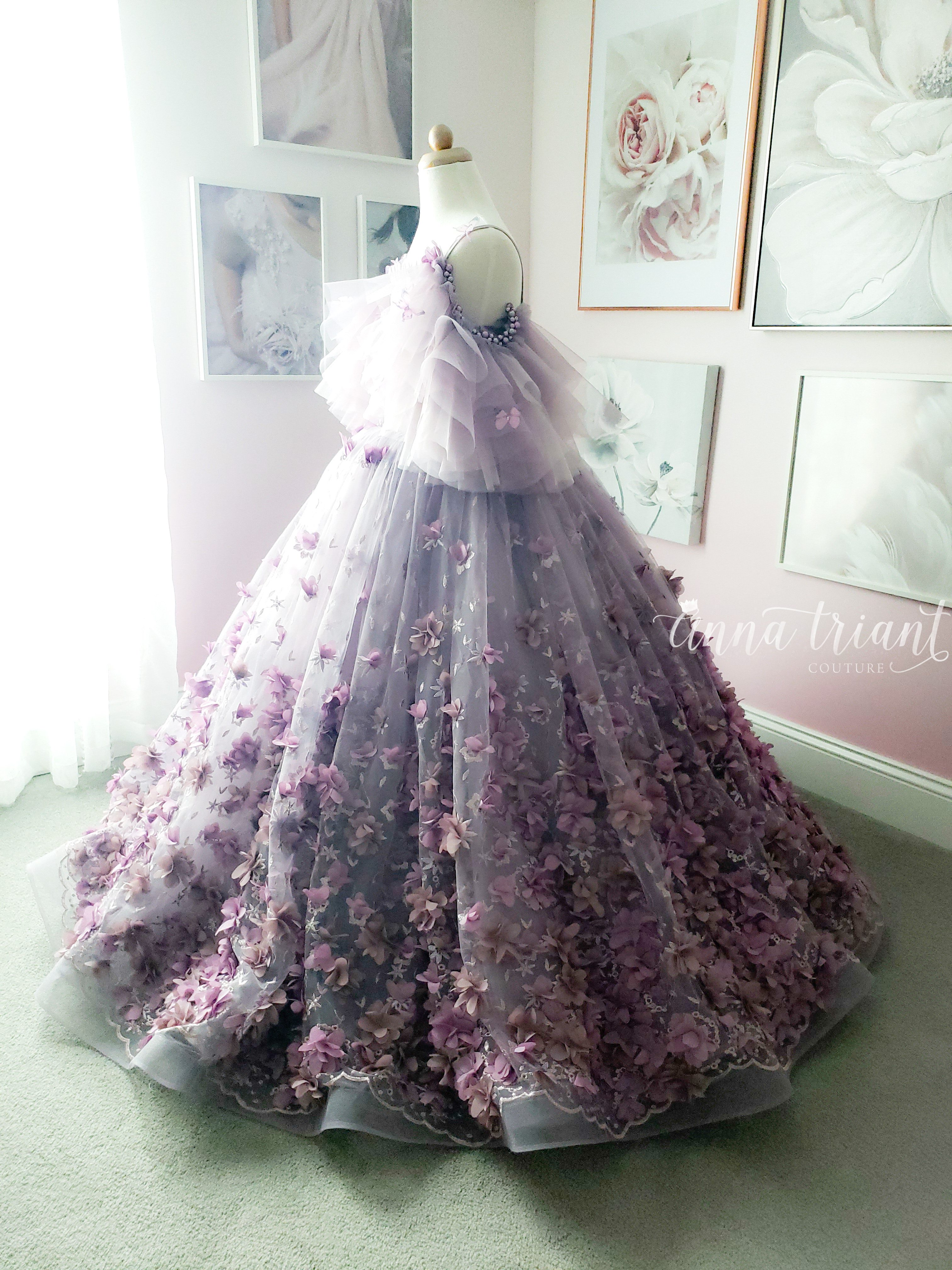 One of a Kind Dusty Purple Butterfly Gown, size 8-10