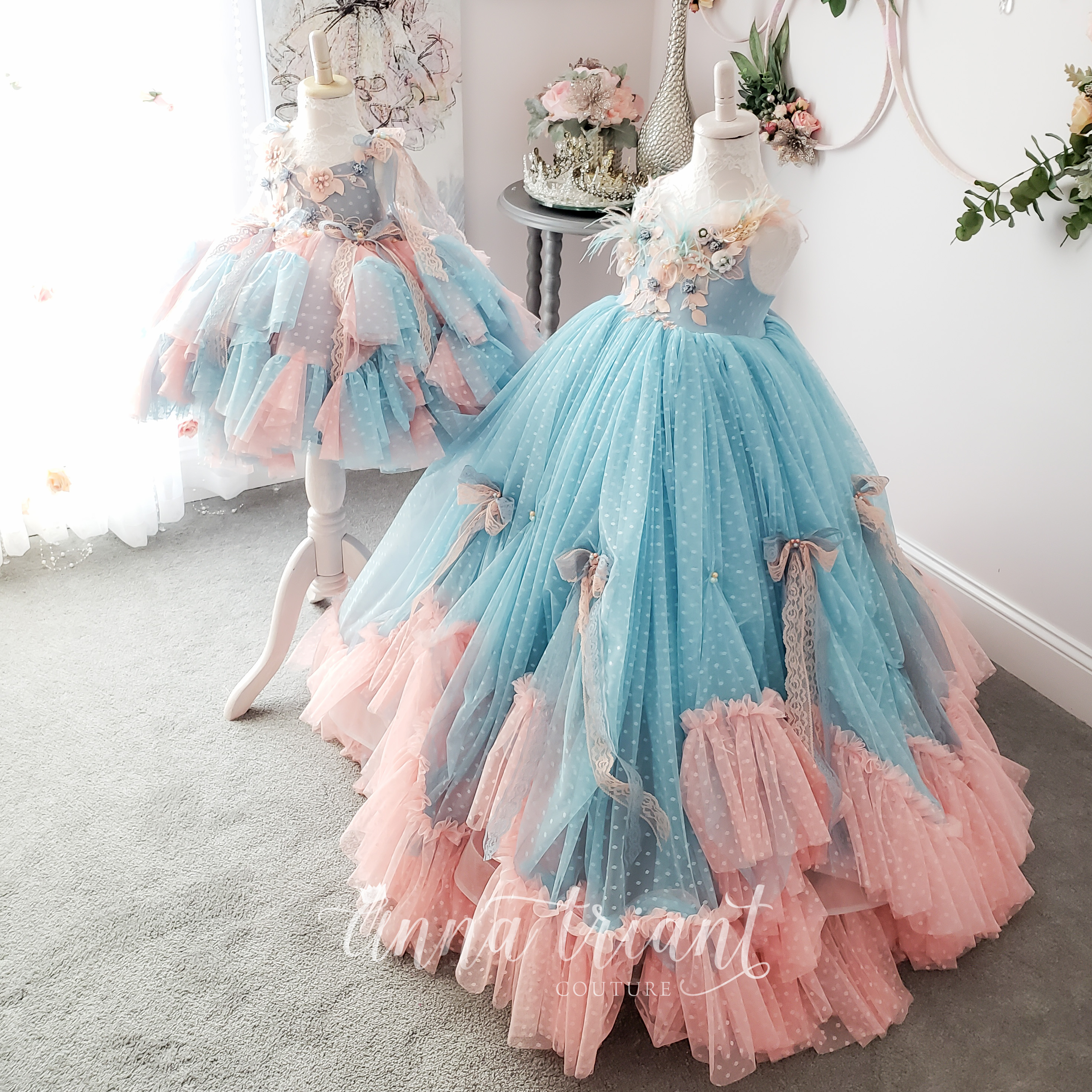 Magdaline Gown in Aqua Peach
