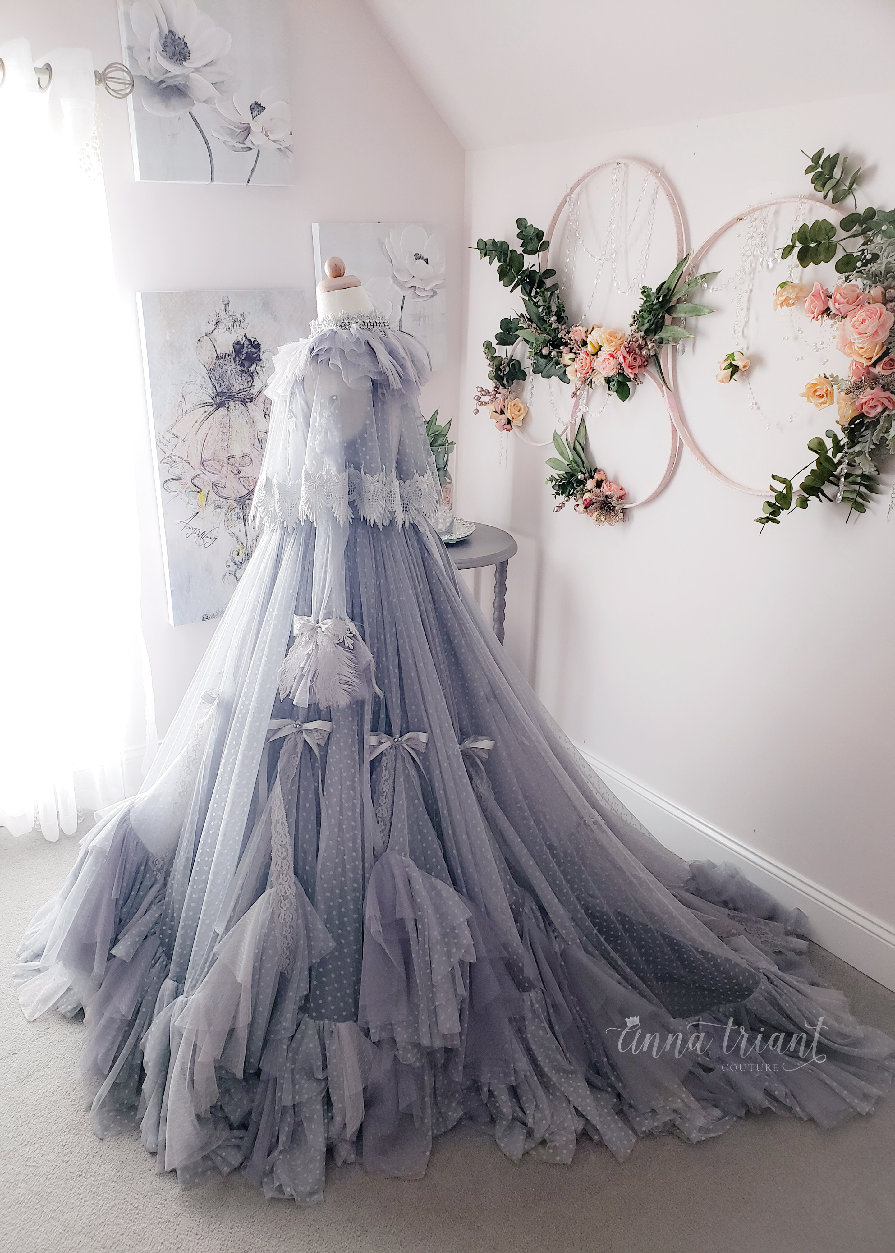 Elise Gown Gray Monochrome