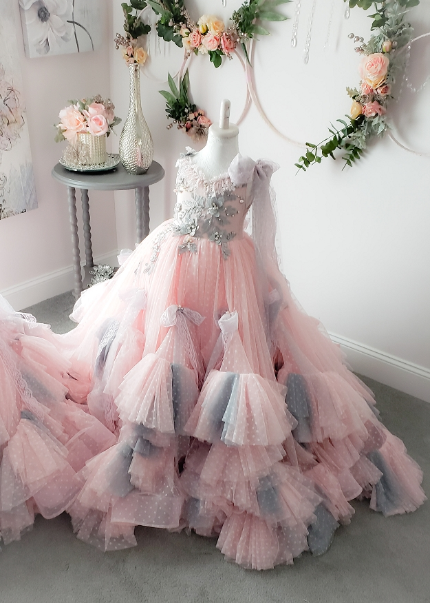 Elise Gown - Pink And Gray