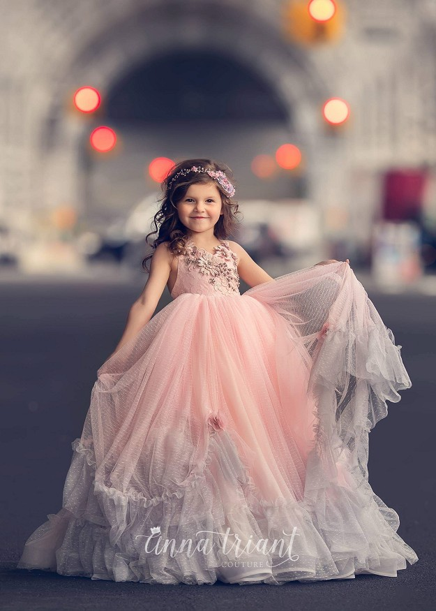 Magdaline Pink and Gray Gown