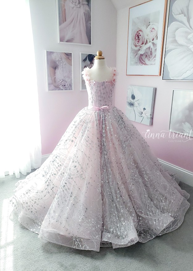 Moonstone Gown in Pink & Silver