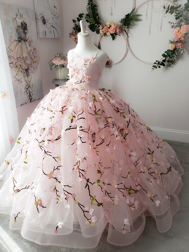 Amelia Ice Pink Floral Gown
